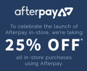 Jeanswest – 25% OFF with Afterpay – In-store only!